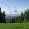The ski lifts during the summer