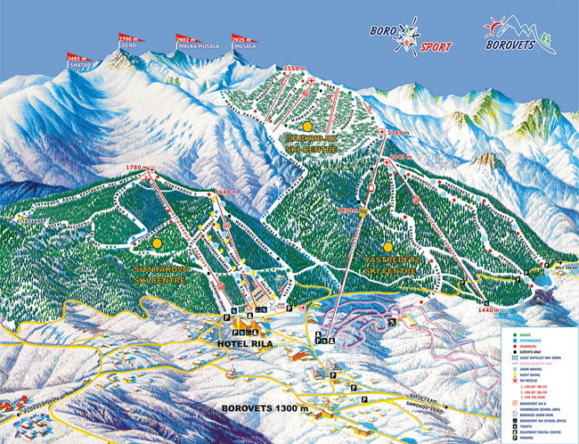 Map of Borovets piste tracks